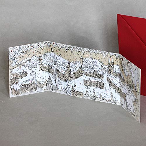 10 Görlitz-Adventskalender mit rotem, nassklebenden B6-Umschlägen, Klappkarten mit Altarfalz, prima zum Verschicken und Hinstellen - Idee und Gestaltung: Astrid Lange