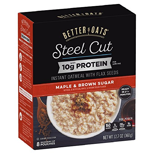 Better Oats Steel Cut Maple & Brown Sugar High Protein Instant Oatmeal with Flax Seeds, 12.7 Ounce (Pack of 6)