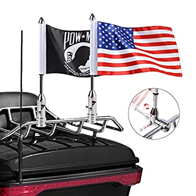 2 Pack Motorcycle Flag Pole Fold Down 90° with American Flag and Pow-mia Flag 6.7'' x 10.2'' Flag Pole Holder Bracket Fit for 1/2'' Tubular Luggage Rack Harley Touring Spring Honda Goldwing etc. by RONGZHI