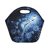 Bolsa de almuerzo de neopreno con aislamiento Reloj Interplay Reloj Manos Engranajes Luces Números Bolsas de asas gruesas térmicas reutilizables de gran tamaño para loncheras