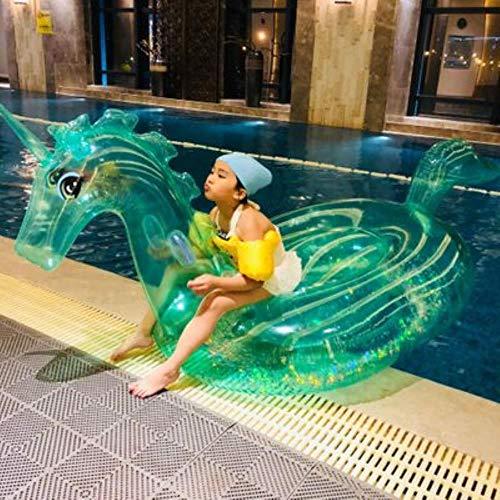 OGAWOO 240 cm Einhorn Kristall Grün Rosa Pegasus Aufblasbare Pool Float Fahrt Auf Schwimmring Luftmatratze Wasser Spielzeug, grün