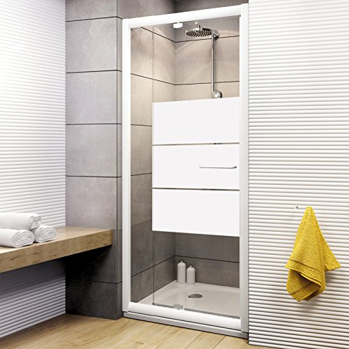 Schulte Duschkabine Drehtür Nische Vita, 79-91x185 cm, 5 mm Sicherheits-Glas Depoli light, weiß, ausziehbare Duschtür
