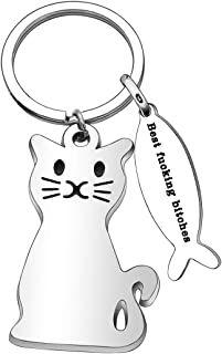 Best Friend Gifts for Women Men Cat Keychain Keyring Key Chain Christmas Gifts Thanksgiving Birthday Gifts