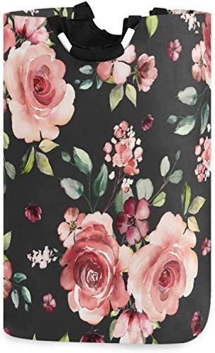 Bolsa de lavandería negra con flores de rosas,cesto de lavandería,cesta de tela,elegante,plegable,para el hogar,bolsa de lavandería con asas