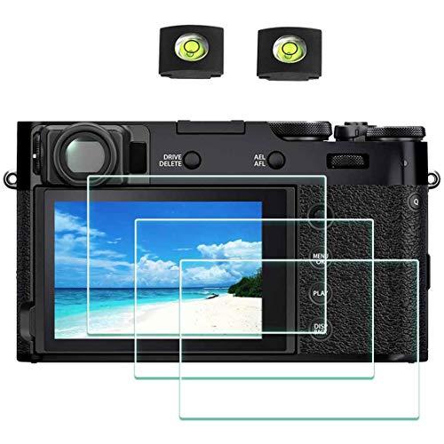X100V Displayschutzfolie für Fujifilm X100V Fuji Film Digitalkamera [3er Pack] mit Blitzschuh-Abdeckung, ULBTER 0,3 mm, 9H Härte, gehärtetes Glas, kratzfest, Anti-Fingerabdruck, blasenfrei, staubdicht