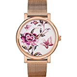 Timex Women's TW2U19500 Full Bloom 38mm Rose Gold-Tone/Pink Stainless Steel Mesh Bracelet Watch