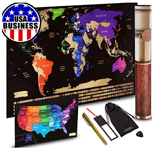 Scratch off World Map + Scratch off USA Map Travel Poster   US States And World Country Flags Detailed In Large 30' x 17' Size Scratchable Tracker Poster   Premium Travelers Wall Set (Black / Gold)