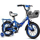 SYCHONG Bicicleta Plegable-Niños De Acero Al Carbono De Alta Bicicleta Plegable De Doble Marco De Frenos De Bicicletas Plegables, Asiento Ajustable Y Asa Altura (5-9Year Antiguo),Azul,16inches