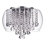 Marquis by Waterford Nore IP44 Rated LED Encased Flush Bathroom Ceiling Light - Chrome & Glass with Free LED Bulbs, 5 Yr Guarantee Included Litecraft (5 Light)