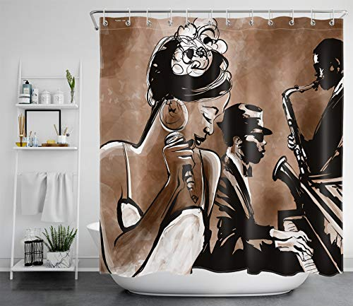 LB African American Woman Shower Curtain Afro Black Girl Singing Jazz Jazzist Music Afrocentric Shower Curtains for Bathroom Brown Durable Waterproof Fabric Curtains with Hooks, 70 x 70 Inches