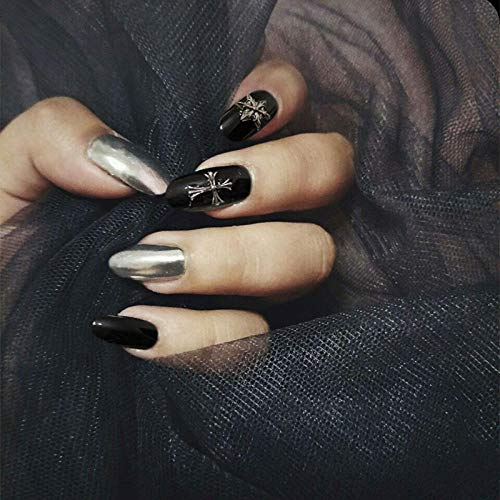 Style punk noir et ruban brillant frappe de couleur unie avec croix gothique décoration 3D faux ongles dames conseils d'ongles complets