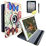 """Butterfly Design Ipad Case for iPad 9.7"""" 2018/2017 Release Also Fit for iPad Air 1st 2013 Release Models A1893 A1954 A1822 A1823 A1747 A1475 Support Wake/Sleep Function with Stylus Pen"""