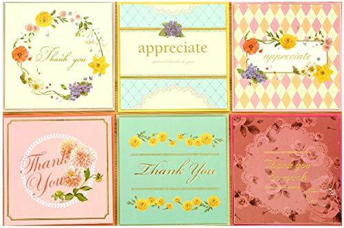 Blanko-Karten mit Umschlägen, 48 kreative süße Blumen, quadratisch, für Festivals, Büro, Konferenzfeiern, Geschäftsgeschenke, 6 Motive