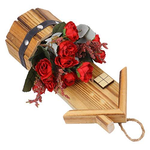 BESPORTBLE Sztuczny kwiat róży w drewnianych doniczkach piękny realistyczny sztuczny jedwab aranżacje kwiatowe rustykalny wystrój domu czerwony