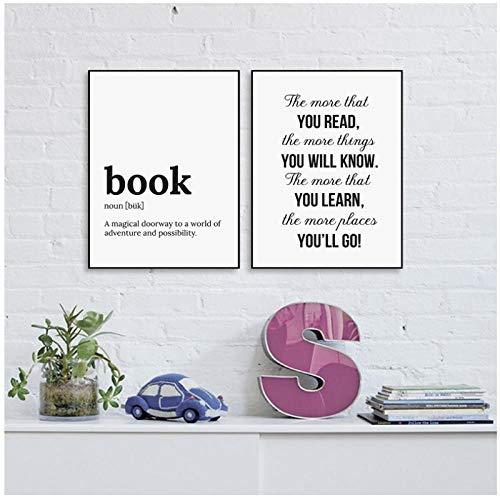 AdoDecor Minimalistischer Buchtext Lernen Sie mehr, um mehr zu erfahren Leinwandmalerei Poster und Drucke Schlafzimmer Wandkunst Bilder Wohnzimmer Dekor 50x72cmx2 Ungerahmt