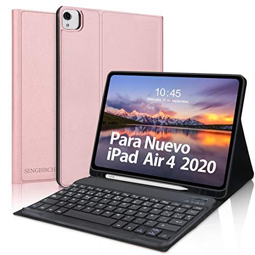 Teclado para iPad Air 4 10.9 Pulgadas(2020) - SENGBIRCH Funda Inteligente con Español Teclado Bluetooth para iPad Pro 11 2021/2020/2018, Carcasa Auto-Sueño/Estela, Oro Rosa