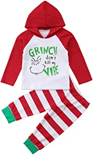 LNGRY Baby Outfits,Toddler Infant Kid Girls Boys Grinch Don't Kill My Vibe Hooded Sweater Tops+Striped Pants Set