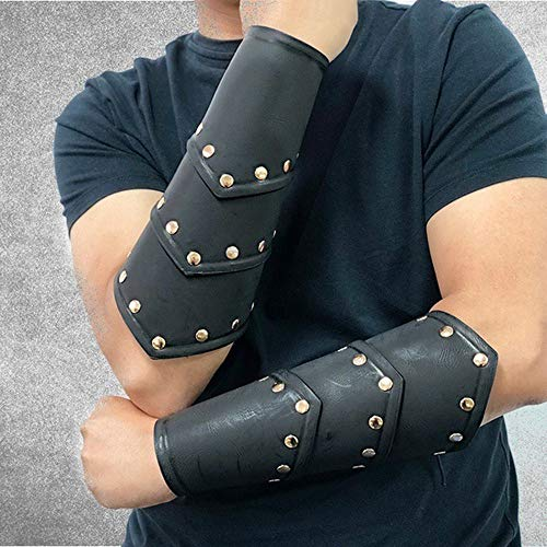 LYY 1 Pair Adjustable Arm Guard Bracer,Retro Medieval Leather Arm Protectors Protective with Buckle Armor Rivet for Archery Hunting Shooting Cosplay Costume Gear for Adult Men