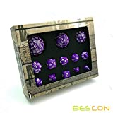Bescon Complete Polyhedral RPG <span class='highlight'><span class='highlight'>Dice</span></span> Set 13pcs D3-D100, 100 Sides <span class='highlight'><span class='highlight'>Dice</span></span> Set Solid Purple