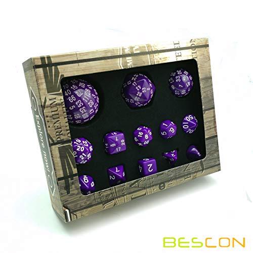 Bescon Complete Polyhedral RPG Dice Set 13pcs D3-D100, 100 Sides Dice Set Solid Purple