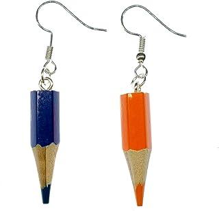 Miniblings Echte Buntstifte Stift Upcycling Ohrringe einzeln - Handmade Modeschmuck I Schule Schulanfang Farbstifte Malen Zeichnen - Ohrhänger Ohrschmuck versilbert