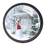 Perillas de tocador negras Árbol de navidad, invierno, nieve Tiradores de gabinetes de vidrio transparente, redondo, negro, tiradores de cajones para paquete de 4