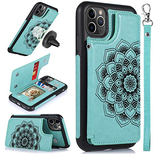 CASEOWL iPhone 11 Pro Max Case,Wallet Case with Card Holder,RFID Blocking,Kick Stand,Wrist Strap,Fit Magnetic Car Mount,Mandala Embossed Leather Back Flip Cover Case for iPhone 11 Pro Max(2019),Green