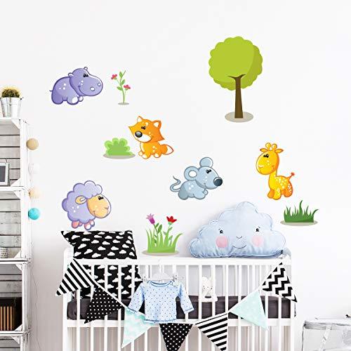 Stickers adhésifs Enfants | Sticker Autocollant les animaux heureux - Décoration murale chambre enfants | 40 x 80 cm