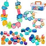 SLDALES 60Stk. Fädelspiel Spielzeug, Tiere Maths Obst Gemüse Holzspielzeug, Montessori Spielzeug für 2 3 Jahre Mädchen und Jungen