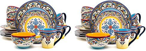 Euro Ceramica Zanzibar Collection 16 Piece Dinnerware Set Kitchen and Dining, Service for 4, Spanish Floral Design, Multicolor, Blue and Yellow