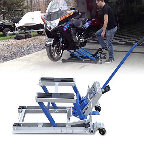 LianDu Elevador Hidráulico de Motocicletas con Capacidad para 680 kg Elevador de Cuatrimoto Bicicleta Elevadora (Azul)