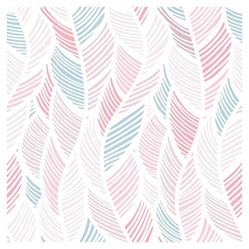murando Papel Pintado 10 m Fotomurales tejido no tejido rollo Decoración de Pared decorativos Murales XXL moderna de Diseno Fotográfico - Hojas beige blanco rosa azul f-B-0167-j-a