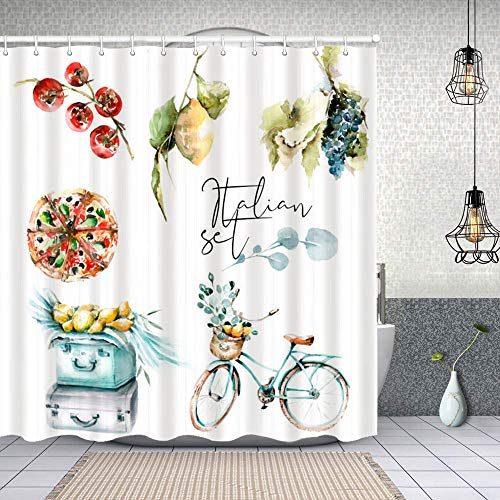 Waterproof Shower Curtain,hand drawing watercolor set for travel to italy car with lemons suitcase with olive,Washable Fabric Bathroom Decor Set with Hook Bath Curtain 180x180cm