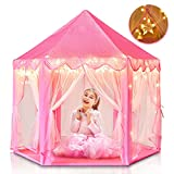 Princess Tent for Girls, Kids Play Tent with Star Lights Toys for 1st BirthdayGifts , Pink Large Playhouse for Babys Indoor and Outdoor (Princess Tent)