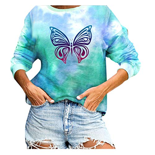 XLKJ Womens Tie-dye Hoodies Casual Butterfly Printing Sweatshirt Long-Sleeve Round Neck Top Pullover Clothes Hoodies Green