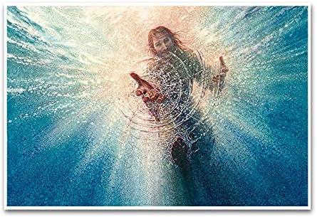 Jesus reaching into water painting _image2