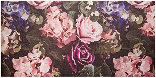 Baroni Tappeto Passatoia Cucina in PVC Antiscivolo Lavabile Fiori Rosa 60x120 cm