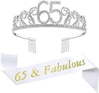 65th Brithday Tiara and Sash, Happy 65th Birthday Decorations Party Supplies, 65 & Fabulous Sash and Crystal Rhinestone Birthday Crown Birthday Cake Topper