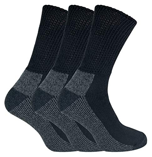 IOMI - 3 Pairs Mens Extra Wide Loose Top Comfort Thick Cushioned Cotton Diabetic Work Socks (6-11 uk, Black (Work))