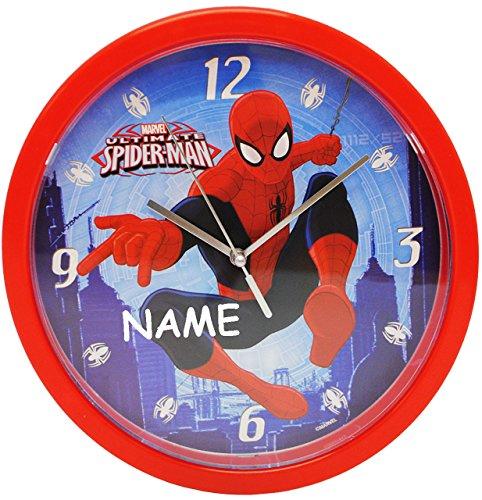 alles-meine.de GmbH Wanduhr -  Spider-Man  - incl. Name - 25 cm groß - sehr leise ! - Uhr - Analog - Wohnzimmer & Kinderzimmer - für Jungen Kinder - Kinderuhr - Ultimate Spider..