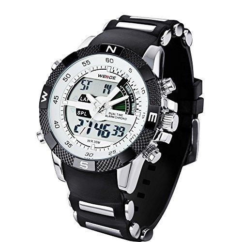 Denis Charm Weide WH-1104-1 - reloj analógico y digital, hora doble, LCD, con retroiluminación WH-1104, para la práctica de deportes, con caja de regalo