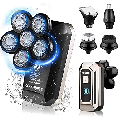 Head Shaver,YBLNTEK Electric Head Shaver for Men Electric Rotary Razor&Grooming Kit,5 in 1 Wet&Dry Six-Head Shaver Cordless Rechargeable Hair Beard Clippers Nose Beard Trimmer,Waterproof, LED Display