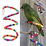 Sage Square Natural Wood Bead Swing Flexible Ladder for cage Toy for Budgerigar