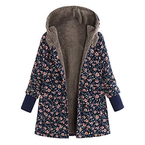 iHENGH Damen Herbst Winter Bequem Mantel Lässig Mode Jacke Frauen Frauen Winter Mit Kapuze Langarm Vintage Print Fleece Verdicken Hasp Mäntel Outwear