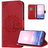 Custodia a portafoglio per Xiaomi Redmi Note 5, motivo mandala in rilievo, con chiusura magnetica e supporto per carte di credito, per Xiaomi Redmi Note 5 Pro, colore: Rosso