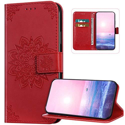 Funda de teléfono para Xiaomi Redmi 7A, diseño de flores de mandala en relieve de piel sintética con cierre magnético, funda protectora con tarjeteros Kickstand Flip Case para Xiaomi Redmi 7A, rojo