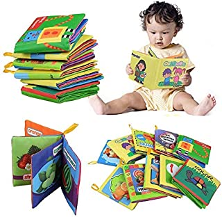 Bluefringe Cloth Book Baby Gift, Soft Books for Newborn Babies, 1 Year Old & Toddler, Educational Toy for Boy & Girl, Touch and Feel Activity, Crinkle Peekaboo, Baby Shower Box