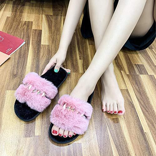 WDDNTX Zapatillas para Mujer Algodón Slippers,Plegado De Felpa Lentejuelas Rosa Open Toe Antideslizante Cómoda Suaves Y Ligeros En Silencio Otoño Invierno Home Indoor Outdoor Señoras Zapatillas
