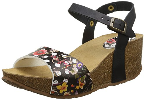 Desigual Shoes Mika - Sandalias Abiertas de Material sintético Mujer, Color Negro, Talla 37