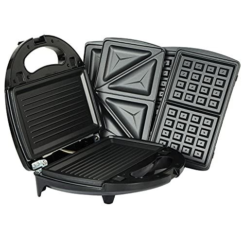 Kosoree Kitchen 3 in 1 Sandwich Toaster Waffle Maker Iron Toast Grill Panini Press 750w